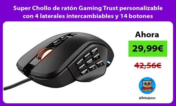 Super Chollo de ratón Gaming Trust personalizable con 4 laterales intercambiables y 14 botones