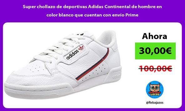 Super chollazo de deportivas Adidas Continental de hombre en color blanco que cuentan con envío Prime