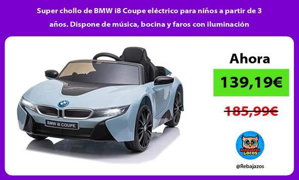 Super chollo de BMW i8 Coupe eléctrico para niños a partir de 3 años. Dispone de música, bocina y faros con iluminación