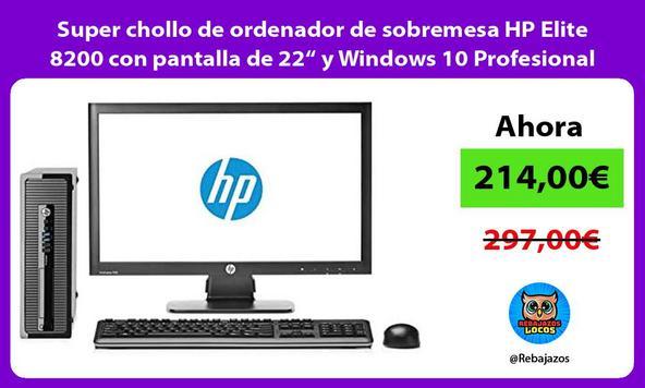 """Super chollo de ordenador de sobremesa HP Elite 8200 con pantalla de 22"""" y Windows 10 Profesional"""