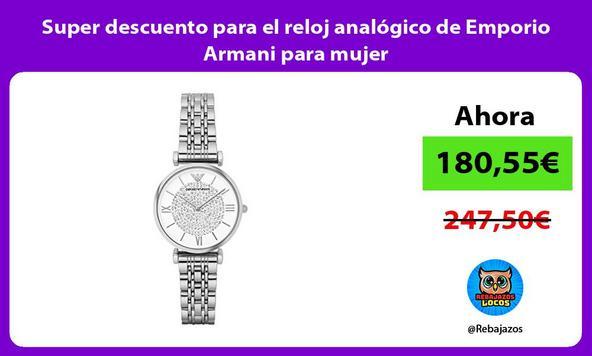Super descuento para el reloj analógico de Emporio Armani para mujer