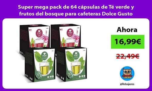 Super mega pack de 64 cápsulas de Té verde y frutos del bosque para cafeteras Dolce Gusto/