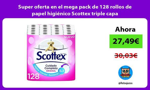 Super oferta en el mega pack de 128 rollos de papel higiénico Scottex triple capa