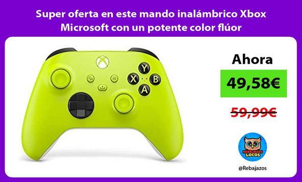 Super oferta en este mando inalámbrico Xbox Microsoft con un potente color flúor