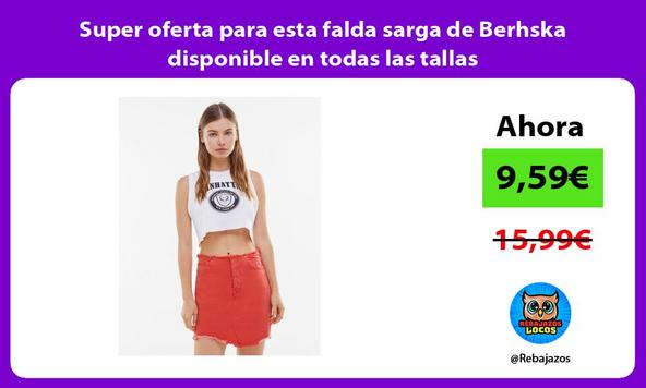Super oferta para esta falda sarga de Berhska disponible en todas las tallas