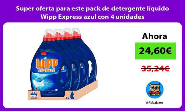 Super oferta para este pack de detergente líquido Wipp Express azul con 4 unidades