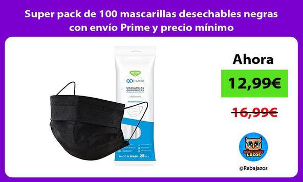 Super pack de 100 mascarillas desechables negras con envío Prime y precio mínimo