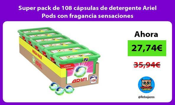 Super pack de 108 cápsulas de detergente Ariel Pods con fragancia sensaciones