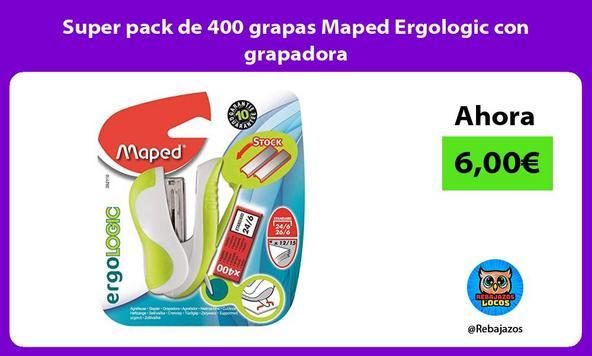 Super pack de 400 grapas Maped Ergologic con grapadora