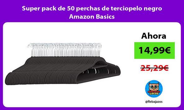 Super pack de 50 perchas de terciopelo negro Amazon Basics