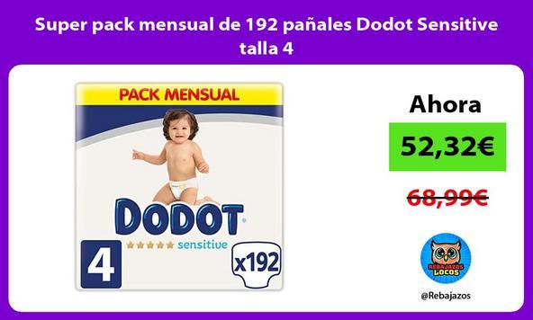 Super pack mensual de 192 pañales Dodot Sensitive talla 4