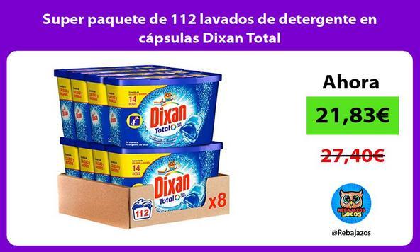 Super paquete de 112 lavados de detergente en cápsulas Dixan Total