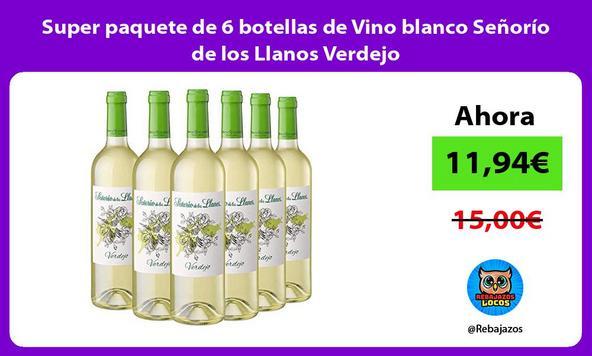 Super paquete de 6 botellas de Vino blanco Señorío de los Llanos Verdejo