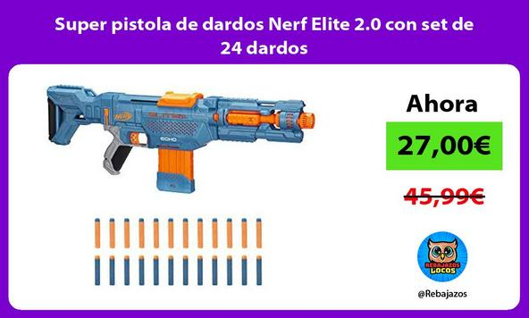 Super pistola de dardos Nerf Elite 2.0 con set de 24 dardos