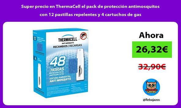 Super precio en ThermaCell el pack de protección antimosquitos con 12 pastillas repelentes y 4 cartuchos de gas