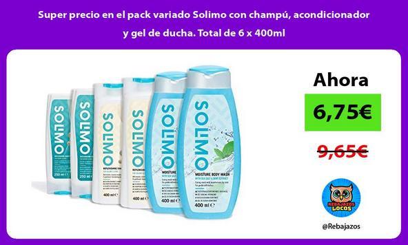 Super precio en el pack variado Solimo con champú, acondicionador y gel de ducha. Total de 6 x 400ml