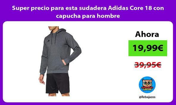 Super precio para esta sudadera Adidas Core 18 con capucha para hombre/