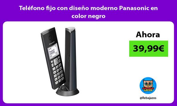 Teléfono fijo con diseño moderno Panasonic en color negro