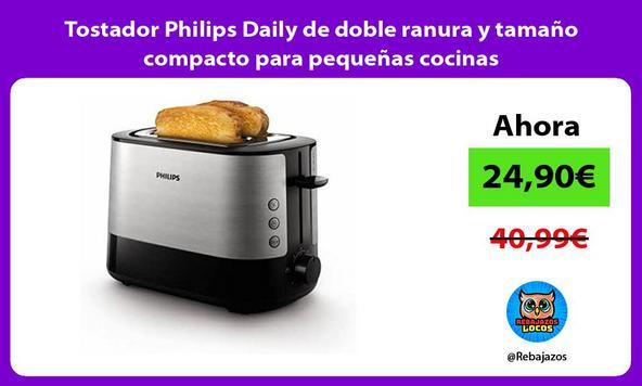 Tostador Philips Daily de doble ranura y tamaño compacto para pequeñas cocinas