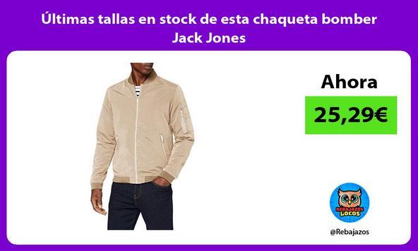 Últimas tallas en stock de esta chaqueta bomber Jack Jones