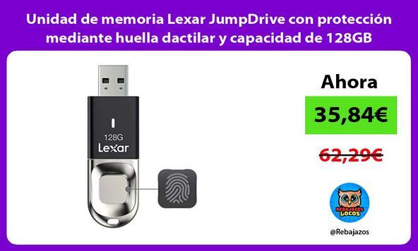 Unidad de memoria Lexar JumpDrive con protección mediante huella dactilar y capacidad de 128GB