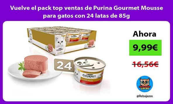 Vuelve el pack top ventas de Purina Gourmet Mousse para gatos con 24 latas de 85g/