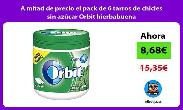 A mitad de precio el pack de 6 tarros de chicles sin azúcar Orbit hierbabuena