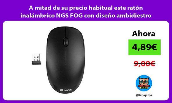 A mitad de su precio habitual este ratón inalámbrico NGS FOG con diseño ambidiestro