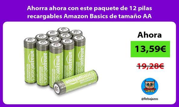 Ahorra ahora con este paquete de 12 pilas recargables Amazon Basics de tamaño AA