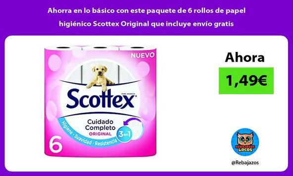 Ahorra en lo básico con este paquete de 6 rollos de papel higiénico Scottex Original que incluye envío gratis