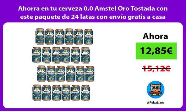 Ahorra en tu cerveza 0,0 Amstel Oro Tostada con este paquete de 24 latas con envío gratis a casa