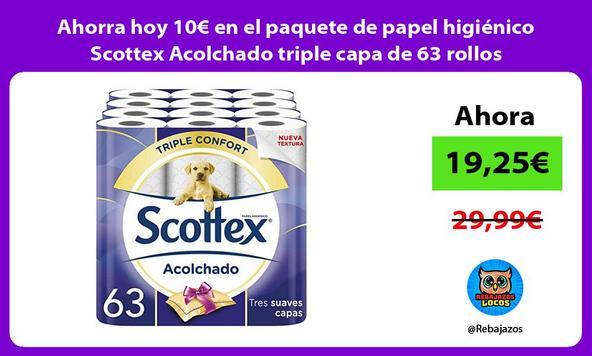 Ahorra hoy 10€ en el paquete de papel higiénico Scottex Acolchado triple capa de 63 rollos