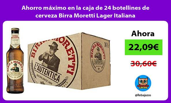 Ahorro máximo en la caja de 24 botellines de cerveza Birra Moretti Lager Italiana
