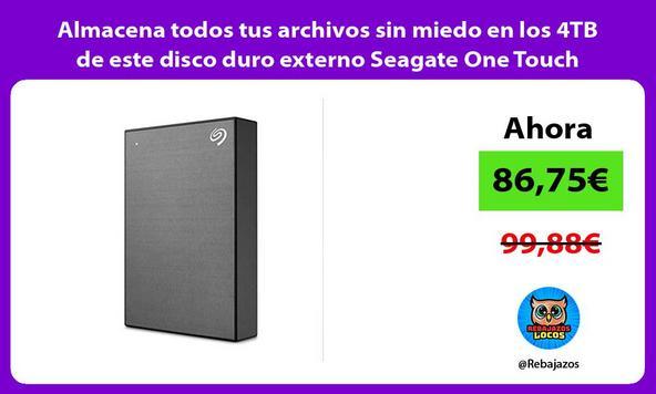 Almacena todos tus archivos sin miedo en los 4TB de este disco duro externo Seagate One Touch