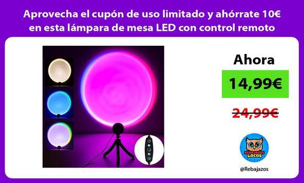 Aprovecha el cupón de uso limitado y ahórrate 10€ en esta lámpara de mesa LED con control remoto