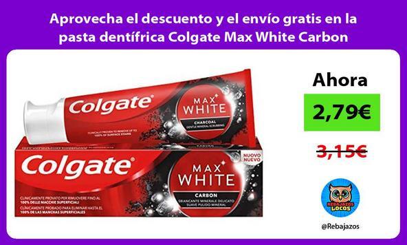 Aprovecha el descuento y el envío gratis en la pasta dentífrica Colgate Max White Carbon