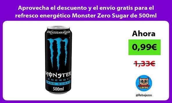Aprovecha el descuento y el envío gratis para el refresco energético Monster Zero Sugar de 500ml