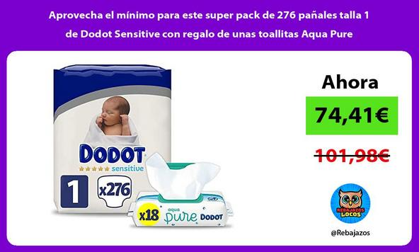 Aprovecha el mínimo para este super pack de 276 pañales talla 1 de Dodot Sensitive con regalo de unas toallitas Aqua Pure