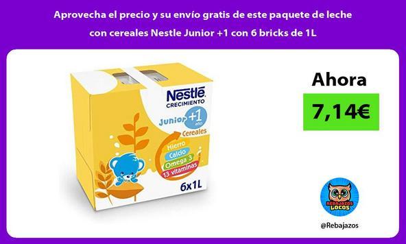 Aprovecha el precio y su envío gratis de este paquete de leche con cereales Nestle Junior +1 con 6 bricks de 1L