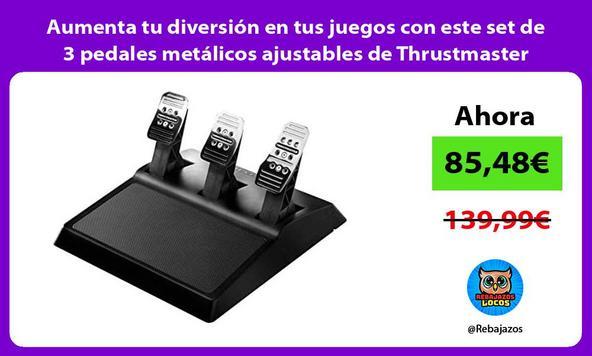 Aumenta tu diversión en tus juegos con este set de 3 pedales metálicos ajustables de Thrustmaster