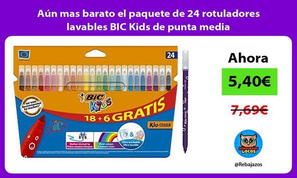 Aún mas barato el paquete de 24 rotuladores lavables BIC Kids de punta media
