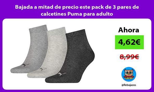 Bajada a mitad de precio este pack de 3 pares de calcetines Puma para adulto