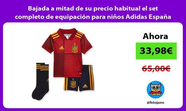 Bajada a mitad de su precio habitual el set completo de equipación para niños Adidas España
