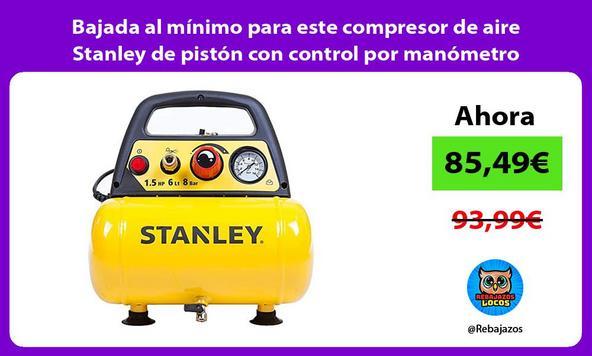 Bajada al mínimo para este compresor de aire Stanley de pistón con control por manómetro
