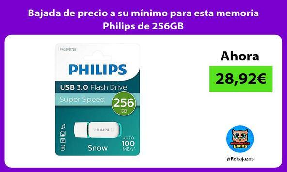 Bajada de precio a su mínimo para esta memoria Philips de 256GB