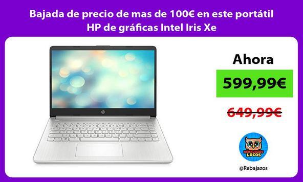 Bajada de precio de mas de 100€ en este portátil HP de gráficas Intel Iris Xe