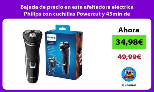 Bajada de precio en esta afeitadora eléctrica Philips con cuchillas Powercut y 45min de autonomía