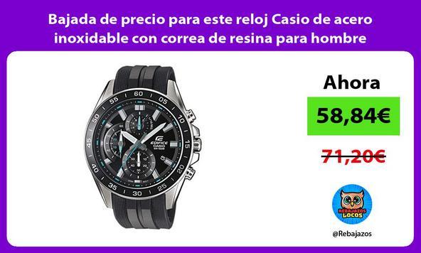 Bajada de precio para este reloj Casio de acero inoxidable con correa de resina para hombre