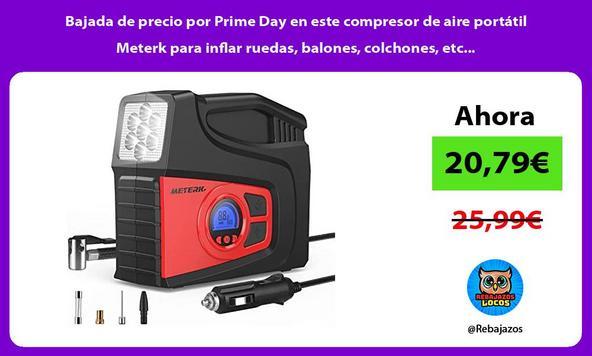 Bajada de precio por Prime Day en este compresor de aire portátil Meterk para inflar ruedas, balones, colchones, etc...
