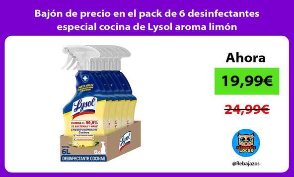Bajón de precio en el pack de 6 desinfectantes especial cocina de Lysol aroma limón